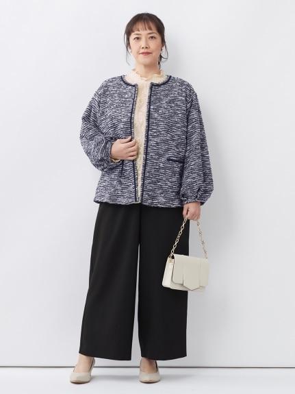 コート×ワイドパンツ|あえて大きめスタイルで着太りしないコートスタイル