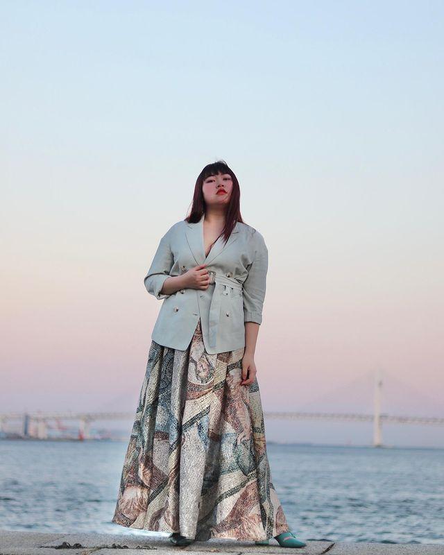 【H&Mコーデ】H&Mのスカートを使用したヴィンテージライクなプチプラぽっちゃりコーデ