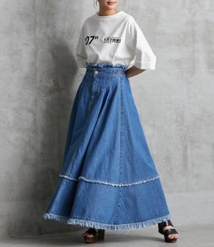 綿100%デニムフレアロングスカート