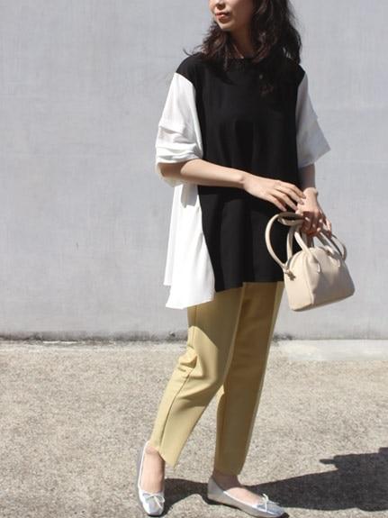 オーバーサイズトップス×タイトボトムスのぽっちゃり韓国ファッション