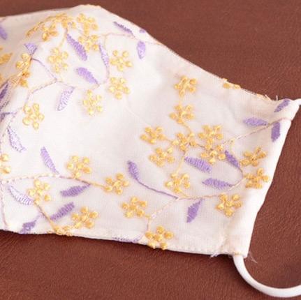 ビッグサイズ 花柄刺繍レースコットンマスク