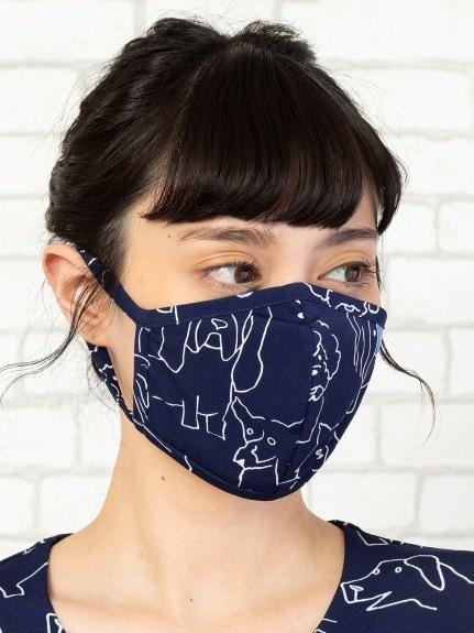手描き風ワンちゃんプリントマスク