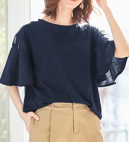 フレアー袖Tシャツを使用したカジュアルコーデ