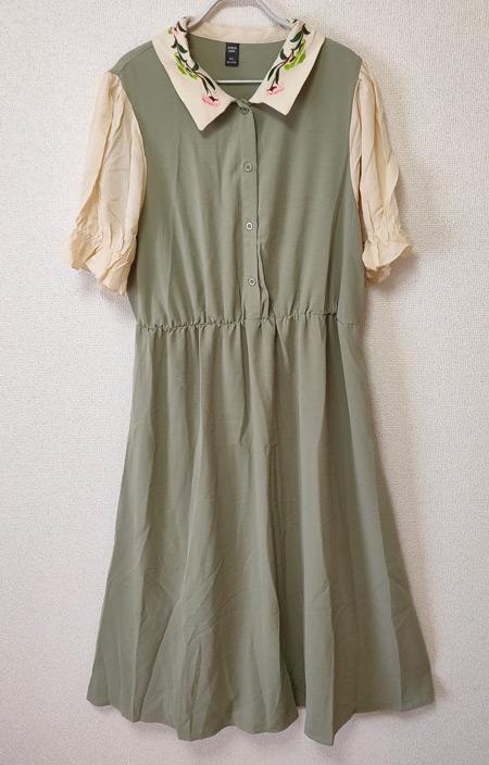 SHEIN カジュアル 刺繍 フリル ボタンフロント フローラル プラスサイズドレス
