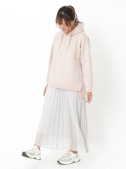 【LACOUPE】くすみカラーのスウェット×プリーツスカートのぽっちゃりコーデ