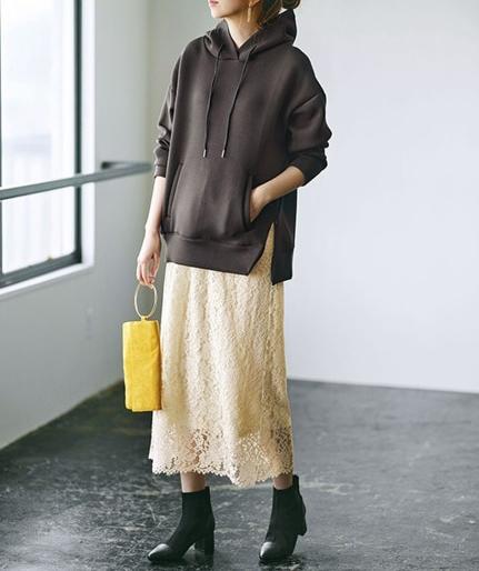 【GeeRA】こっくり色パーカー×レーススカートのぽっちゃりコーデ