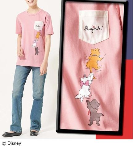 大きいサイズ ポケットデザインTシャツ/ディズニー