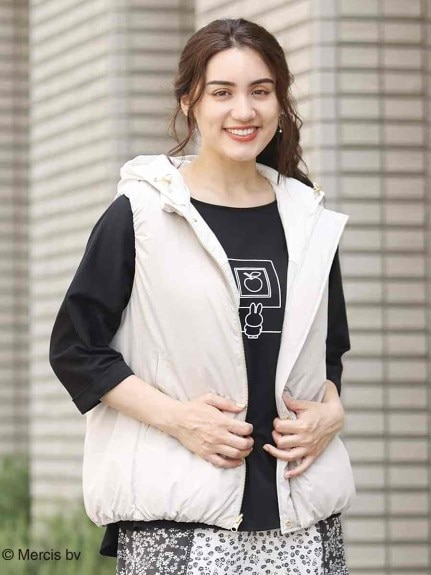 【miffy×eur3】【大きいサイズ】ミッフィープリントラウンドヘムTシャツ
