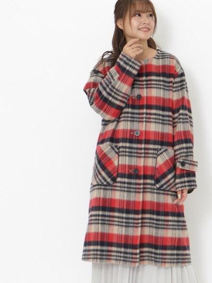 シャギーチェック柄ロングコート/大きいサイズ ラクープ アルディラ