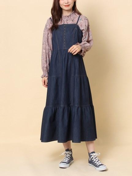 デニムマキシジャンパースカート(Indigo) 大きいサイズ