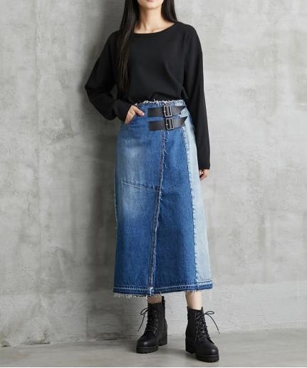 大きいサイズ 綿100%ベルト付ラップ風デニムスカート グランダムール