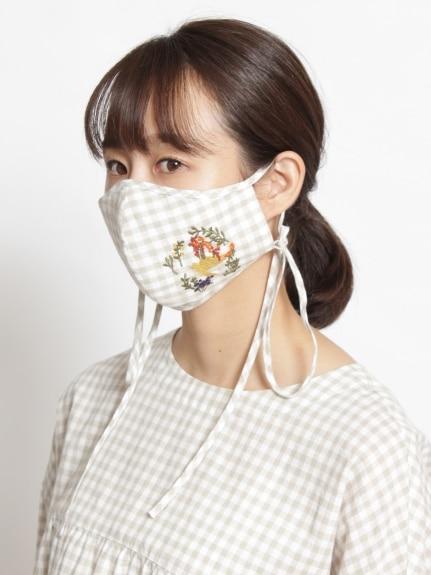 【洗えるマスク・抗菌効果・紐長さ調整可能】リトルフラワーハウス刺しゅうマスク